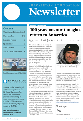 Shackleton Foundation 2016 newsletter